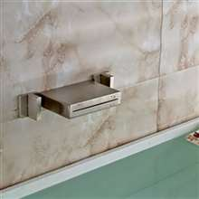 Dual Handle Brushed Finish Wall Mount Waterfall Brass LED Vessel Sink Faucet