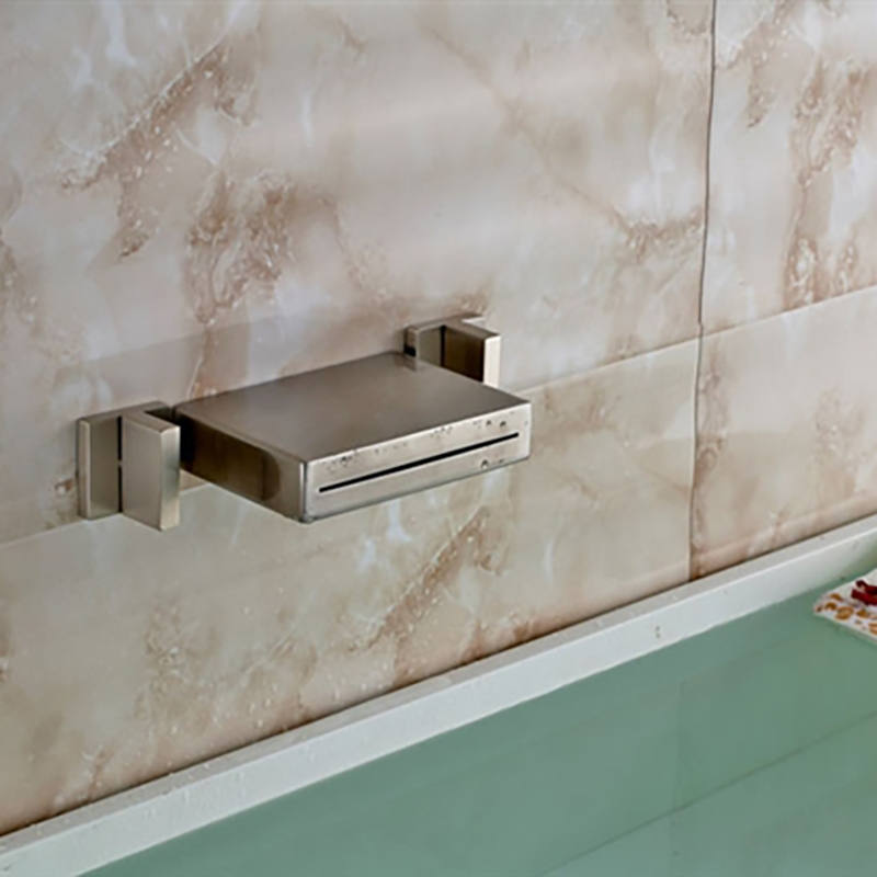 Dual Handle Brushed Finish Wall Mount Waterfall Brass LED Vessel ...