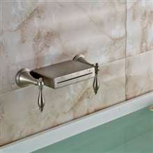 Brushed Nickel LED Color Changing Dual Long Handle Bathtub Faucet