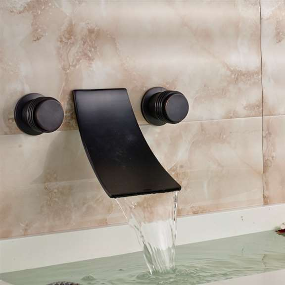 Retro Dark Oil Rubbed Bronze Dual Handle Wall Mount Sink Faucet