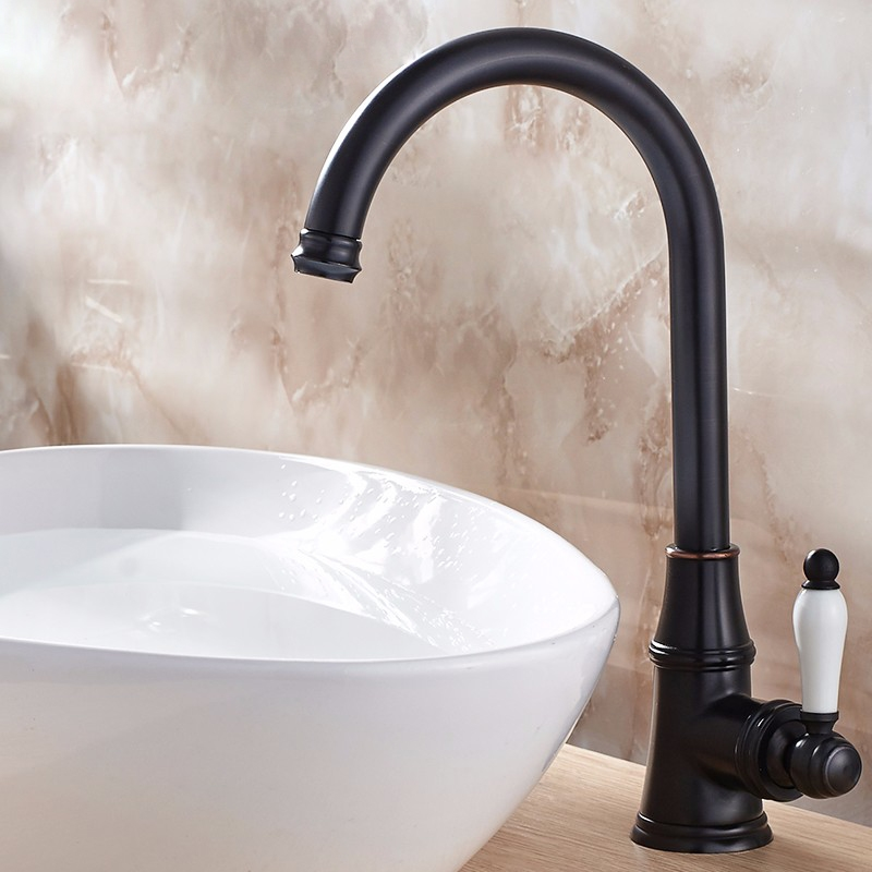 Dark Oil Rubbed Bronze Deck Mounted Basin Faucet Mixer Tap - Dark bronze bathroom faucets