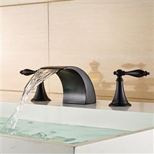 Long Dual Handle Bathroom Oil Rubbed Bronze Deck Mount Faucet