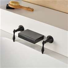 Rauma Long Dual Handle Wall Mount Waterfall Oil Rubbed Bronze Bathroom Sink Faucet