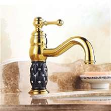 Yale Luxury Crystal Gold Faucet - Single Handle Bathroom Basin Sink Faucet