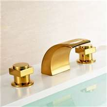 Dual Handle Gold Chrome Finish Mixer Bathtub Faucet