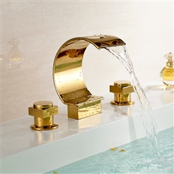 Waterfall Solid Brass Gold Finish Mixer Bathtub Faucet