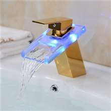 Gold LED Glass Brass Bathroom Basin Sink Waterfall Faucet