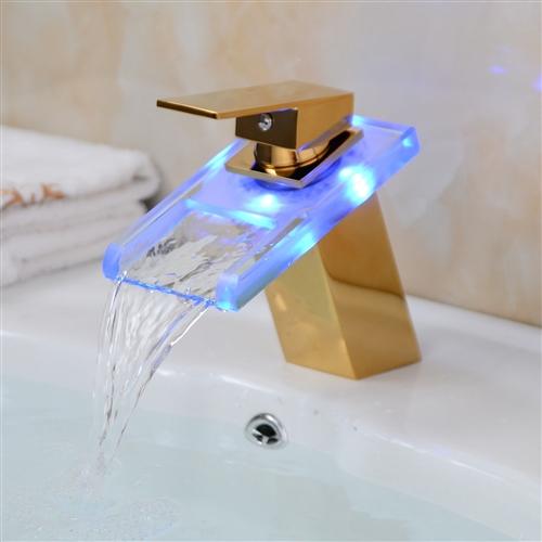 Led Gl Br Bathroom Sink Waterfall