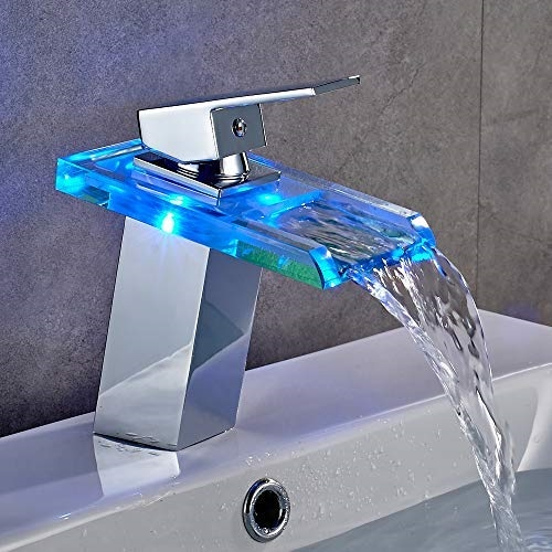 Modern Single Lever Water LED Glass Multiple Color Changed Bathroom ...