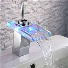 LED Glass Color Changing Brass Chrome Bathroom Basin Sink Faucet Single Lever