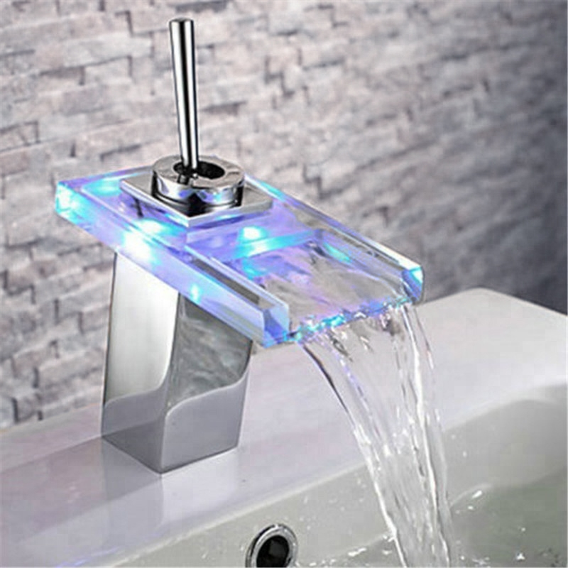 Fontana Led Color Changing Gl Bathroom Sink Faucet Single