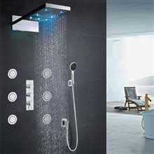 Fontana Contemporary Waterfall Shower Set Thermostatic Mixer Valve Body Massage Spray Jet System