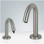 Fontana Atlanta Brushed Nickel Finish Freestanding Dual Sensor Faucet And Soap Dispenser