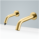 Fontana Milan Solid Brass Shiny Gold Finish Wall Mount Dual Sensor Faucet And Soap Dispenser
