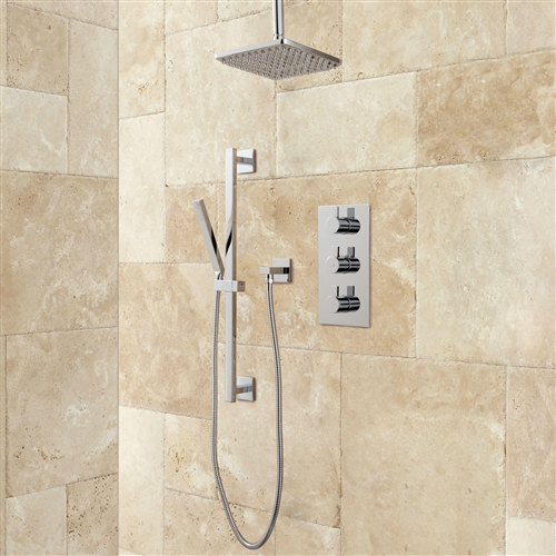 brushed nickel rain shower head with handheld. Thermostatic Shower System Rainfall  Hand Brushed Nickel