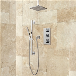 Thermostatic Shower System Rainfall Shower - Hand Shower - Brushed Nickel