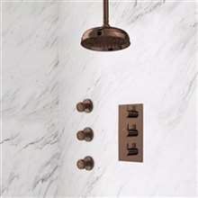 Ceiling Mount Shower System Rainfall Shower - Hand Shower - Brushed Nickel