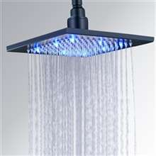 "Fontana 12"" Single color matte black Square LED Rain Shower Head"