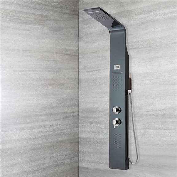 "Fontana 57"" Stainless Steel Bellissa Massage Shower Panel System with Digital Display"