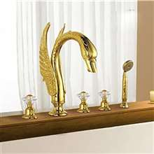 Fontana Gold Plated Swan Bathtub Faucet System