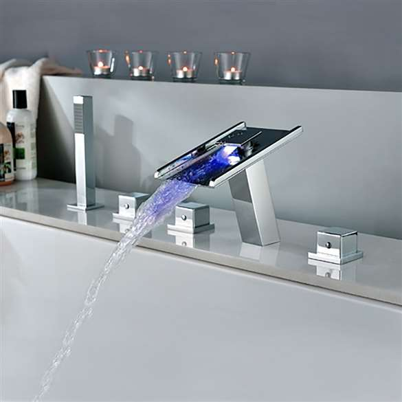 Fontana Waterfall LED Bathtub Faucet with Handheld Shower