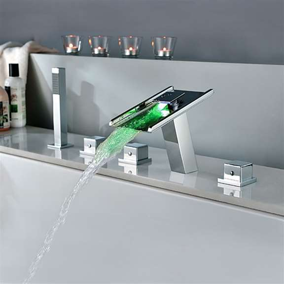 Fontana Waterfall Led Bathtub Faucet With Handheld Shower