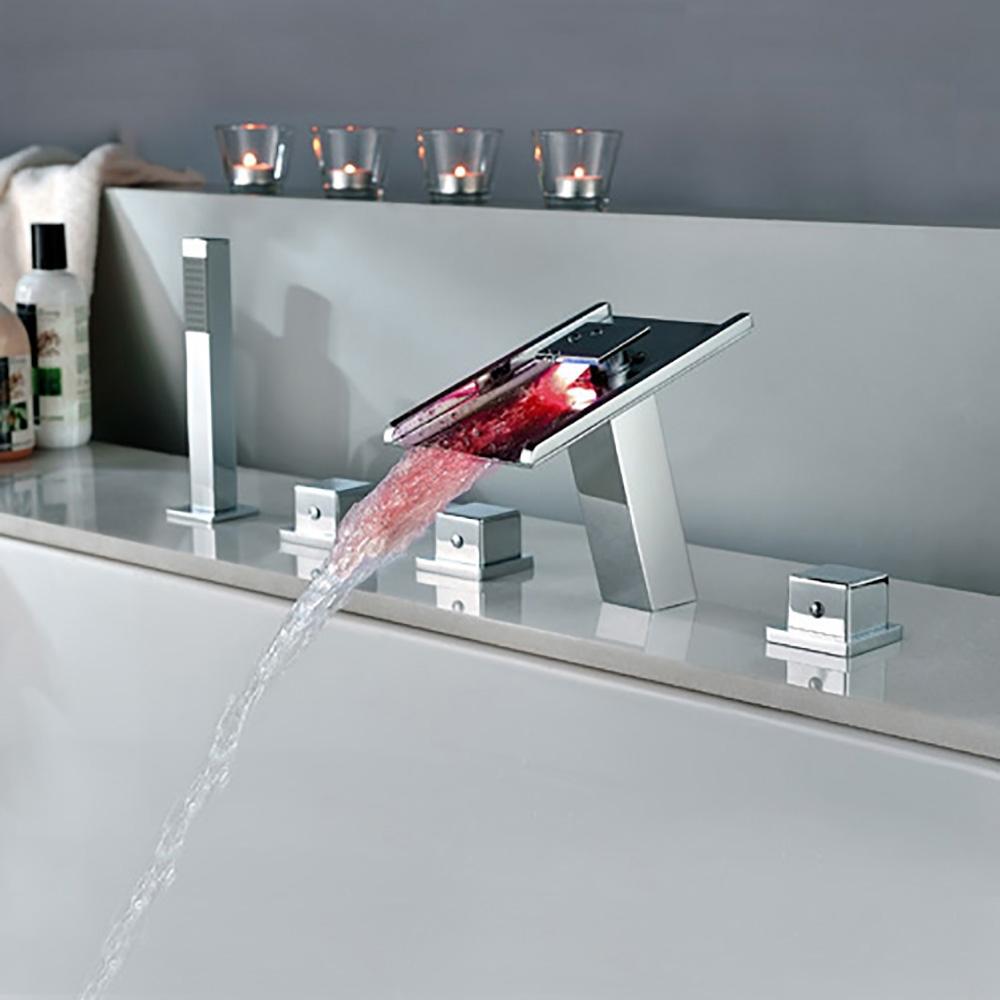 Fontana Triple Handle Waterfall LED Bathtub Faucet ...