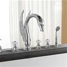 Swan Neck Chrome Waterfall Widespread Bathtub Faucet