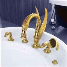 Swan Neck Gold Finish Waterfall Bathtub Faucet
