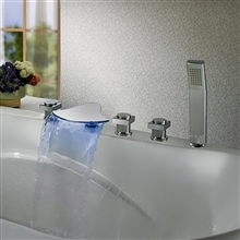 waterfall led bathtub faucet three handle with handshower