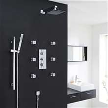 Fontana Edinburgh Wall Mount Thermostatic Rainfall Shower Set With 6 Body Massage Jets