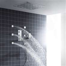 "Fontana Glasgow 24"" LED Ceiling Rainfall Shower Head Set With Body Jets"