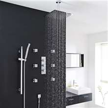 Fontana Edinburgh Ceiling Mount Thermostatic Rainfall Shower Set With 6 Body Massage Jets