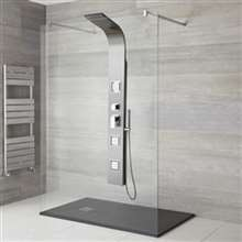 Lenox Stainless Steel Rainfall Waterfall Shower Panel with Pulsating Massage Body Sprays- Also available in Oil Rubbed Bronze Finish