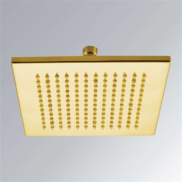 "12"" Gold Plated Rain Shower Head"