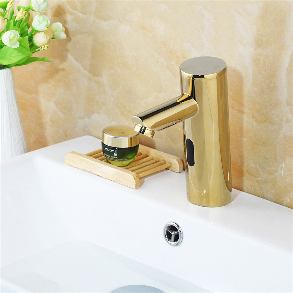 Gold Plated Bathroom Faucet - Thermostatic Sensor Tap Solid Brass ...