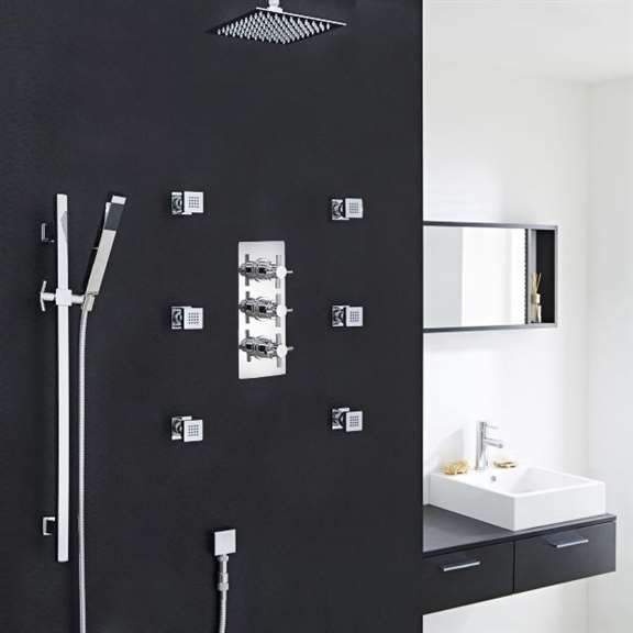 Chrome Finish Ceiling Mount Shower Head Set with 6 Body Massage Shower Jets