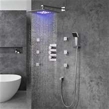 Trialo Brushed Nickel Color Changing LED Shower with Adjustable Body Jets and Mixer