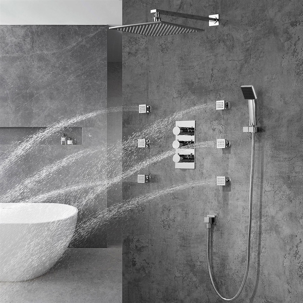 Fontana Trialo Color Changing Led Shower Head With Adjustable Body Jets ...