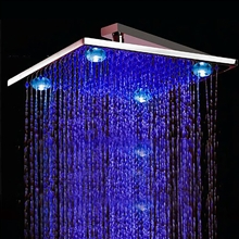 Solid Brass LED Rainfall Showerhead Square