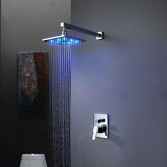 LED Light Shower Head with Built in Mixer