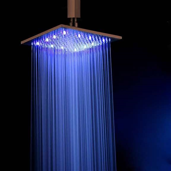 oil rubbed bronze led rain shower head. Fontana 8  Oil Rubbed Bronze Square LED Rain Shower Head Color Changing