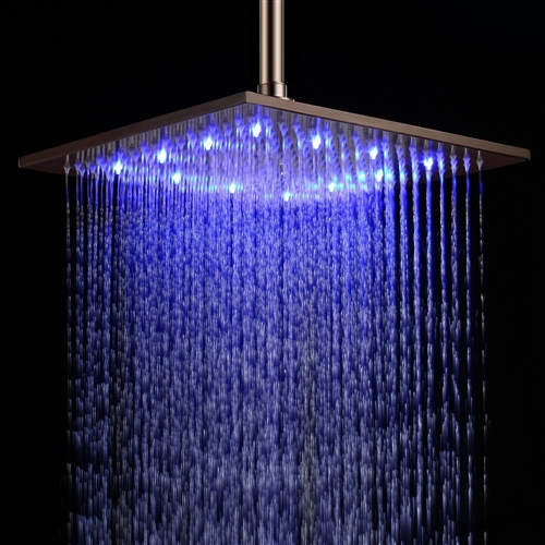Fontana 12  Oil Rubbed Bronze Square Color Changing LED Rain Shower Head