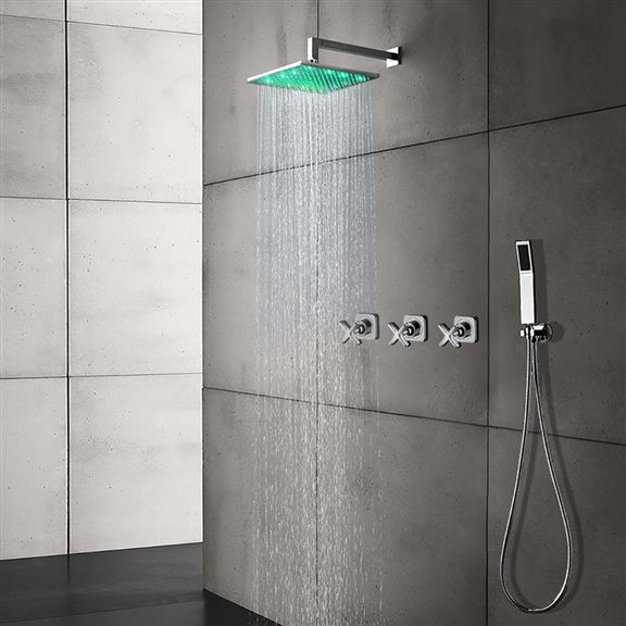 "LED Color Changing Shower Head - Shower Head Sizes 8"", 10"" and 12"""