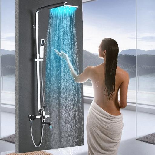 Shop Fontana Led Rainfall Shower Head With Handheld Shower And Shower Faucet At Fontanashowers Com