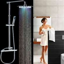 LED Rainfall Shower Head with Handheld Shower and Shower Faucet