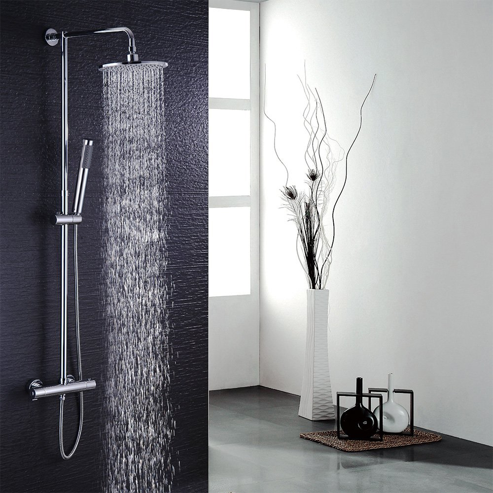 Multi Color LED Shower Set with Rainfall Shower Head and Handheld ...