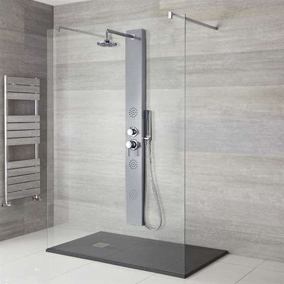 "57"" Stainless Steel Shower Massage Panel with Overhead Shower"