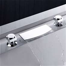 Deck Mounted Chrome Waterfall Faucet Set