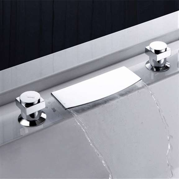 Deck Mount Chrome Waterfall Bathtub Faucet Set